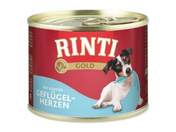 Konzerva RINTI Gold drůbeží srdíčka 185 g konzerva pro štěňata