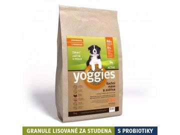Yoggies 4 kg MINI Active Kachna a zvěřina granule lisované za studena s probiotiky