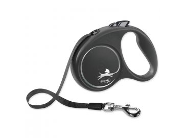 Vodítko FLEXI Black Design páska černé S - 5 m