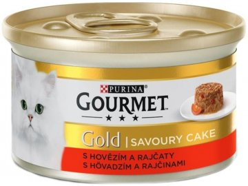 Gourmet gold Savoury cake KK s hovězím a rajčaty 85 g habeo.cz