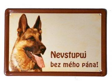 Výstražná cedule: Německý ovčák II pozor pes nevstupuj bez mého pána tabulka plechová na plot habeo.cz