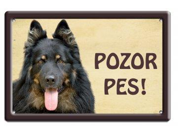 Výstražná cedule: Chodský pes habeo.cz smaltovaná tabulka na plot pozor pes!