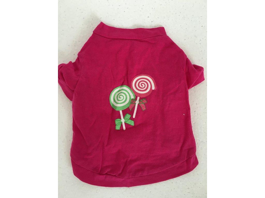 8eb78f5429f0 Jednoduché růžové tričko s potiskem pro psy - Hafana