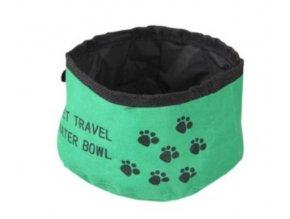 Skládací cestovní zelená miska pro psy