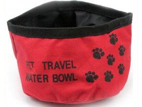 Skládací cestovní červená miska pro psy