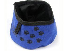 Skládací cestovní modrá miska pro psy
