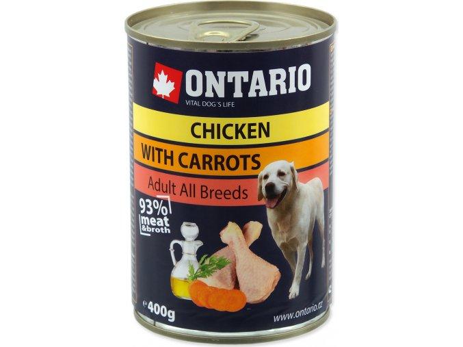 Konzerva ONTARIO Dog Chicken, Carrots and Salmon Oil 400g