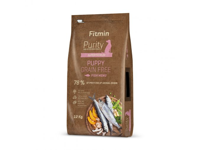 fitmin dog purity gf puppy fish 12 kg h L