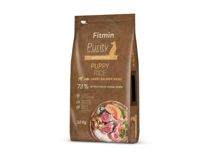 fitmin dog purity rice puppy lamb salmon 12 kg h L