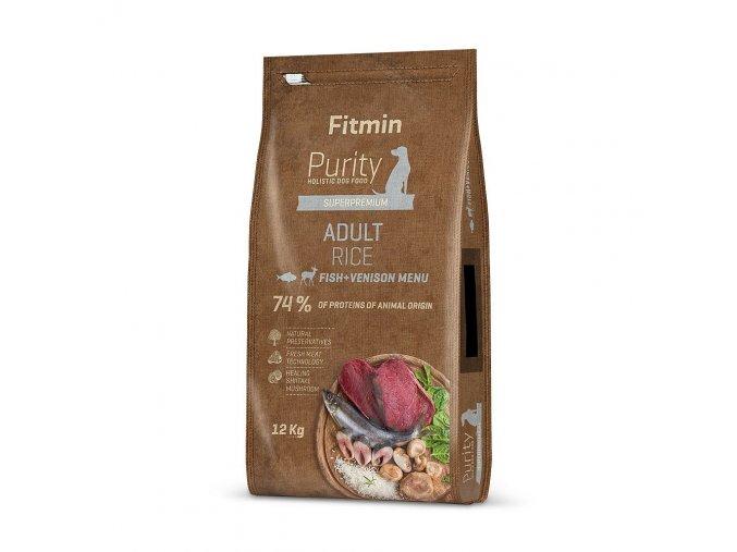 fitmin dog purity rice adult fish venison 12 kg 1 kg h L