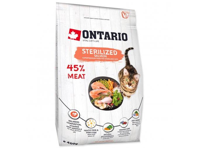 ONTARIO Cat Sterilised Salmon pro sterilizované dospělé kočky losos 0,4kg
