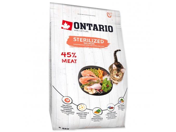 ONTARIO Cat Sterilised Salmon pro sterilizované dospělé kočky losos 2kg