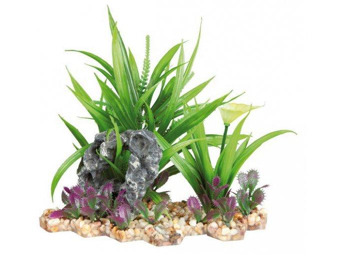Plastová akvarijní rostlina se skalkou, na podstavci 18 cm