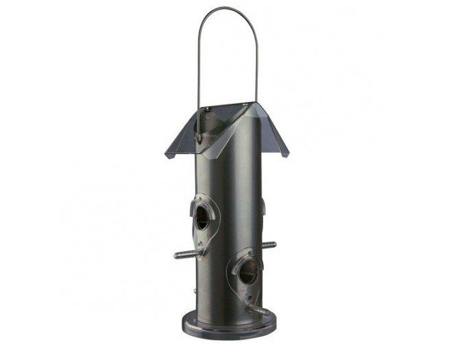 Zahradní krmítko pro ptáčky, 4 otvory 14x25x14 cm kovové