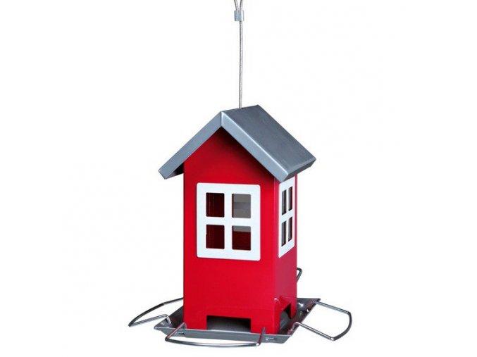 Zahradní krmítko kovové, barevný domeček 19x20x19 cm,  - červený/stříbrná střecha
