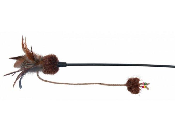 Škádlítko s motýlem a kuličkami, peří  54 cm