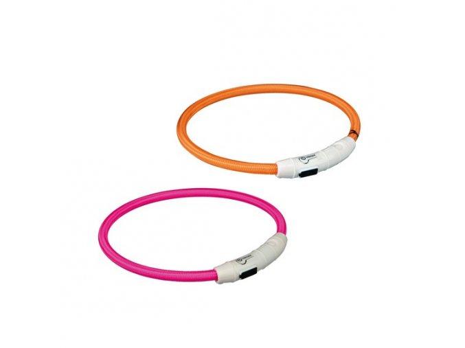 Svítící kroužek USB na krk M-L 45 cm/7 mm oranžový