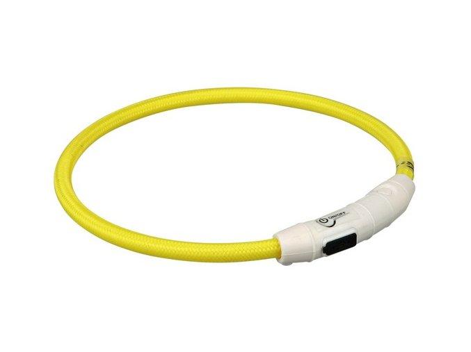 Svítící kroužek USB na krk L-XL 65 cm/7 mm žlutý