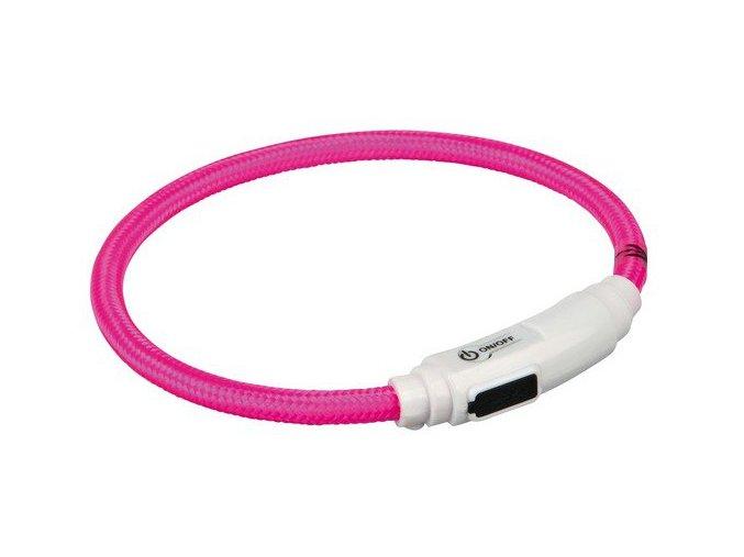 Svítící kroužek USB na krk pro kočky 35 cm/7 mm, - zelená