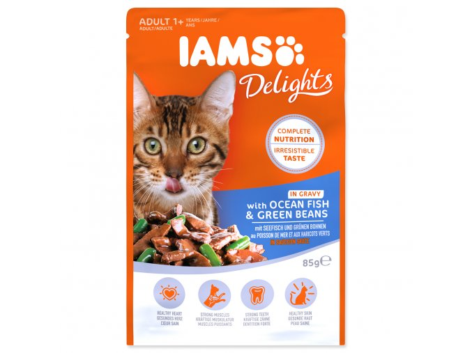 Kapsička IAMS Cat Delights Ocean Fish & Green Beans in Gravy 85g