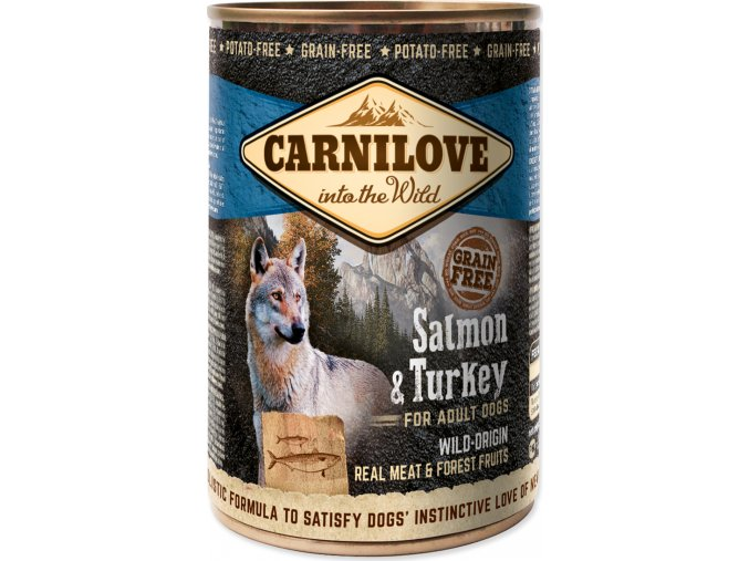 Konzerva CARNILOVE Dog Wild Meat Salmon & Turkey 400g
