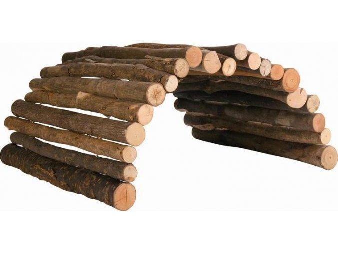 Dřevěný most z kulatých dřívek 51x30 cm pro morče a králíka