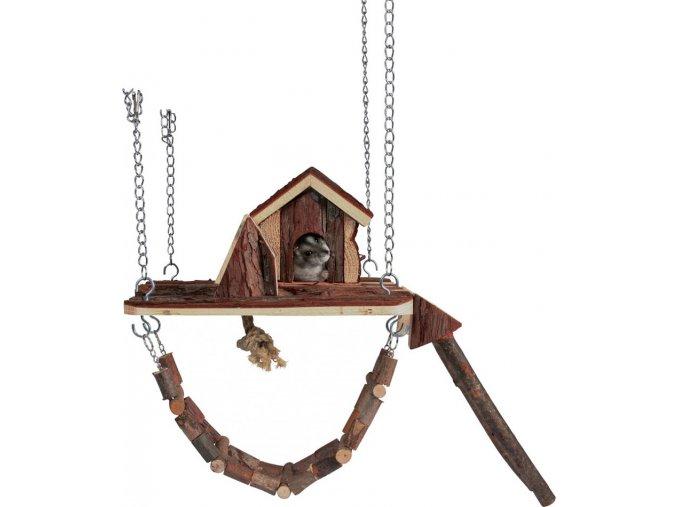 Dřevěné závěsné hřiště s domkem JANNE pro myši,křečky26x22cm