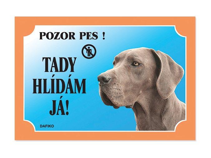 Barevná cedulka Pozor pes Doga modrá