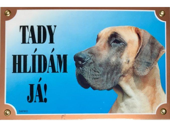 Barevná cedulka Pozor pes Doga žlutá