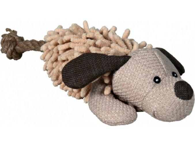 Plyšový pes s ocasem z lana 30 cm