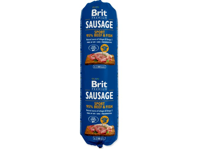 Salám BRIT Premium Dog Sausage Sport – Beef & Fish 800g