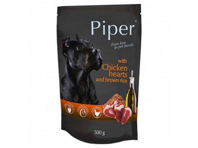PIPER ADULT kapsička pro psy kuřecí srdce a hnědá rýže 500g