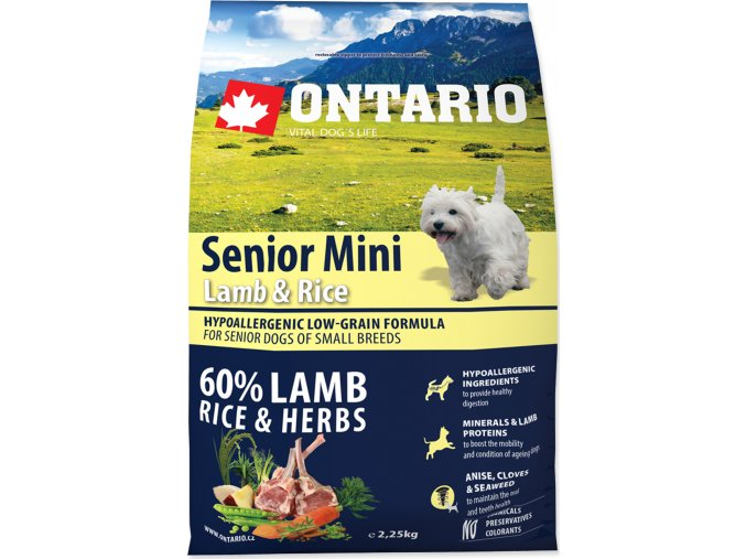 ONTARIO Senior Mini Lamb & Rice 2,25kg