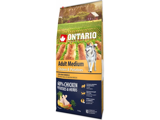 ONTARIO Dog Adult Medium Chicken & Potatoes & Herbs 12kg