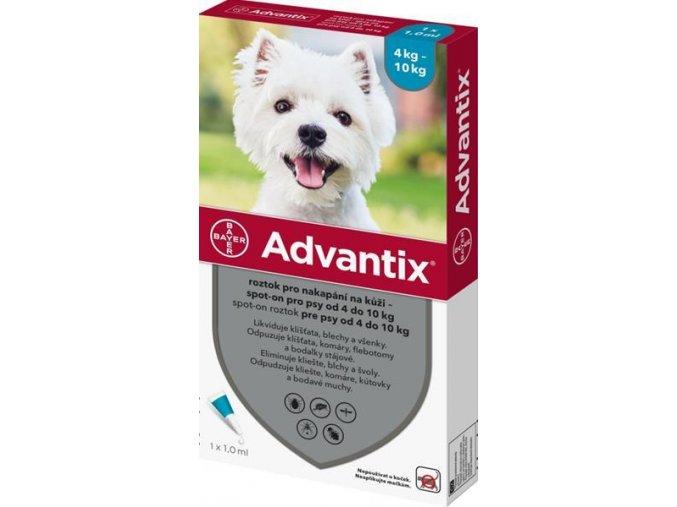 Advantix S.O. pes 4-10kg a.u.v. modrozelený sol 1 x 1 ml