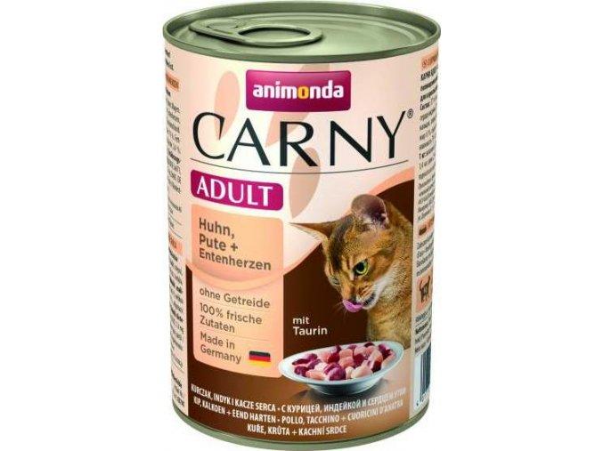 ANIMONDA konzerva CARNY Adult - kuře, krůta+kachní srdce400g