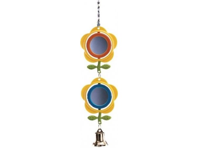 Hračka pták plast Zrcátko květiny 2 malé Nobby 28 cm