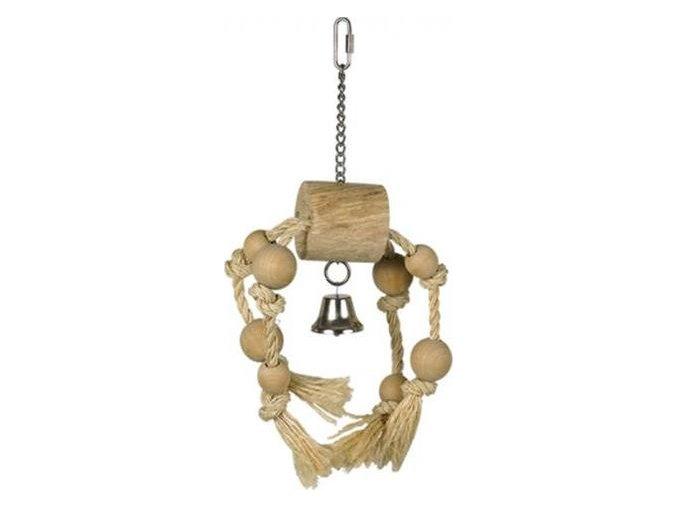 Hračka pták dřevo/sisal Váleček se zvonečkem Nobby 33 x 15 cm