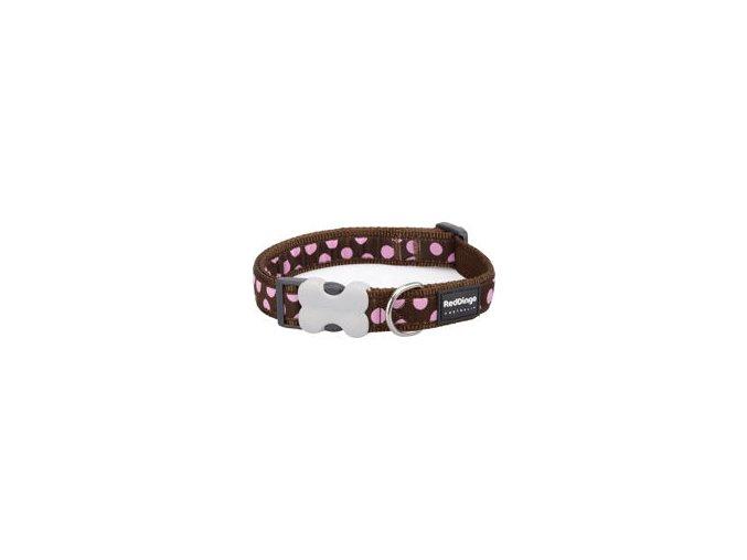 Obojek RD 12 mm x 20-32 cm - Pink Spots on Brown