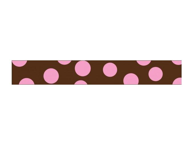 Obojek RD 25 mm x 41-63 cm - Pink Spots on Brown