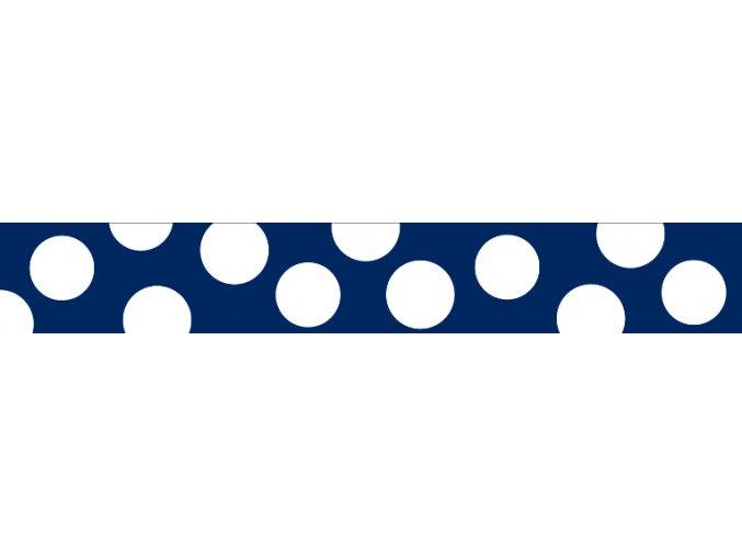 Obojek RD 25 mm x 41-63 cm - White Spots on Navy