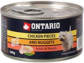 Konzerva ONTARIO Dog Chicken Pieces + Chicken Nugget 200g