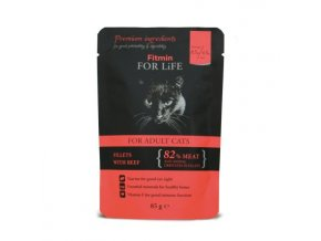 Fitmin for Life masová kapsička pro kočky Adult Beef 85 g