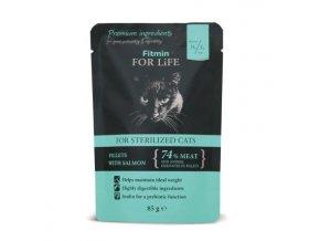 Fitmin for Life masová kapsička pro kočky Sterilized Salmon 85 g