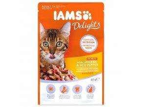 Kapsička IAMS Cat Delights Chicken & Red Pepper in Jelly 85g