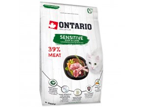 ONTARIO Cat Sensitive / Derma pro kočky s citlivým zažíváním a kožními problémy 0,4kg