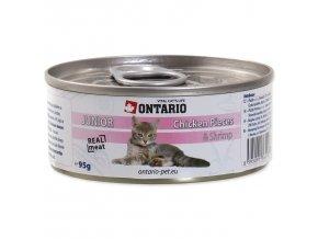 Konzerva ONTARIO Kitten kuřecí kousky, krevety pro koťata 95g