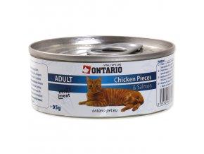 Konzerva ONTARIO Cat kuřecí kousky, losos 95g