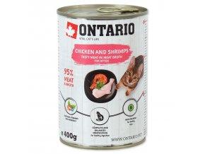 Konzerva ONTARIO Kitten kuřecí kousky, krevety, lososový olej pro koťata 400g