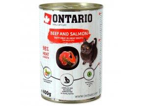 Konzerva ONTARIO Cat hovězí, losos, slunečnicový olej 400g